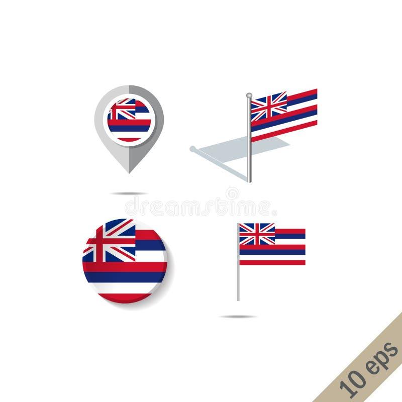 Översiktsben med flaggan av Hawaii - vektorillustration vektor illustrationer