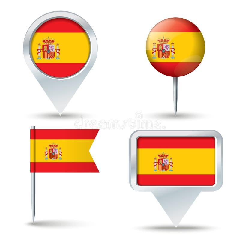 Översiktsben med flaggan av SPANIEN vektor illustrationer
