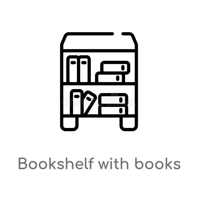 översiktsbokhylla med bokvektorsymbolen isolerad svart enkel linje beståndsdelillustration från utbildningsbegrepp Redigerbar vek stock illustrationer