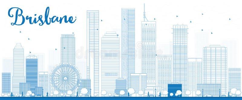 ÖversiktsBrisbane horisont med blå byggnad stock illustrationer