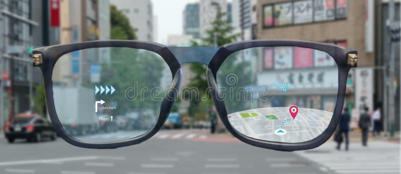 Översiktsbruk ai, algoritmer för konstgjord intelligens att bestämma vilka individer önskar att se, när GPS lägeservice vänds på  royaltyfri foto