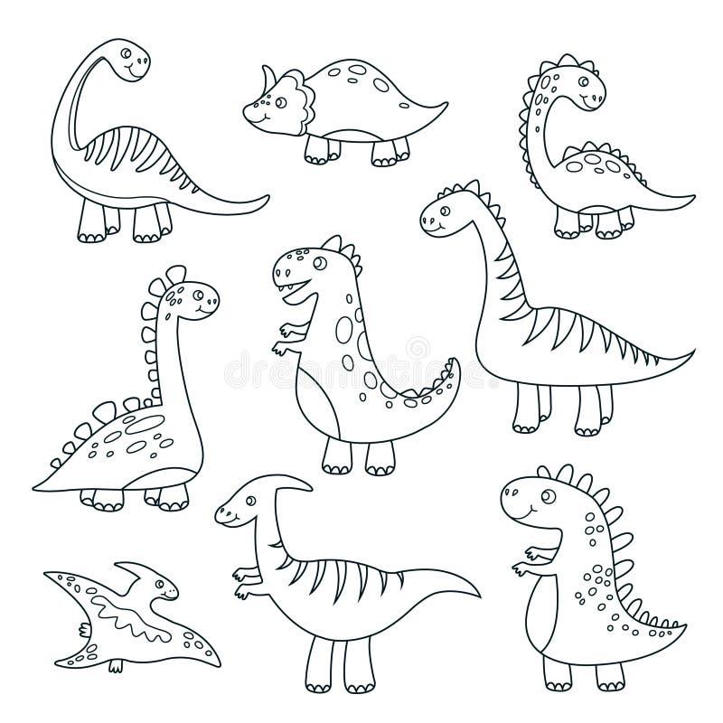 Översiktsdinosaurier Gulligt behandla som ett barn handen för vektorn för dinosaurier för den roliga monster jurassic för djurliv vektor illustrationer