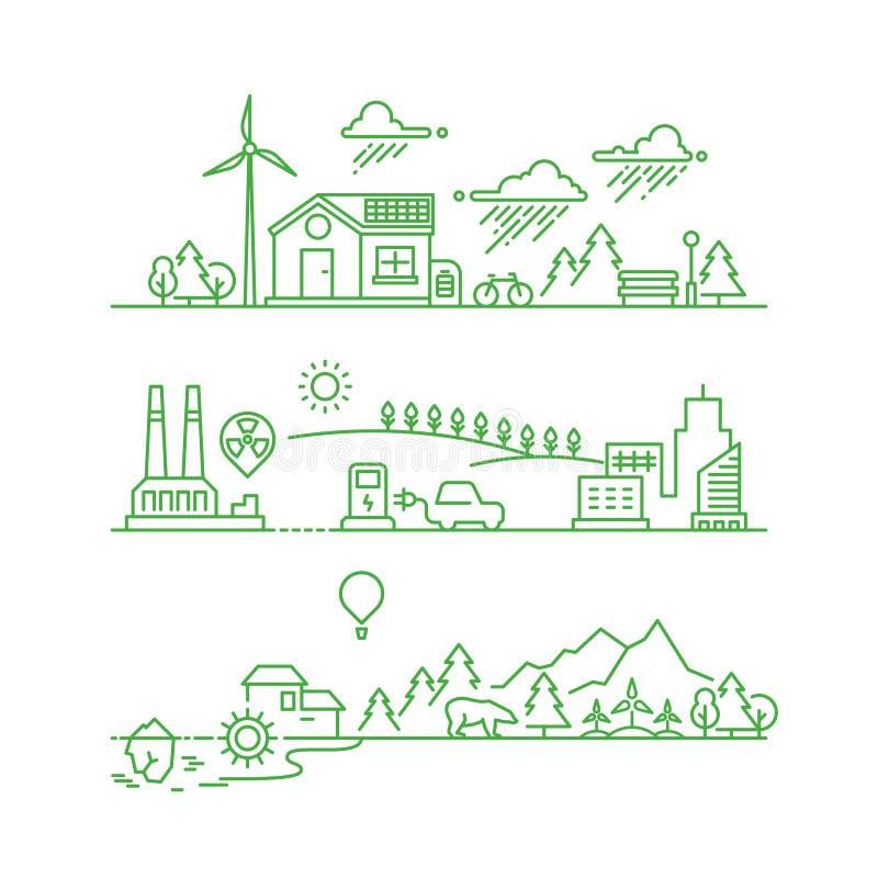 Översiktsecostad Framtida ekologiskt grönt miljö- och ekosystemvektorbegrepp vektor illustrationer