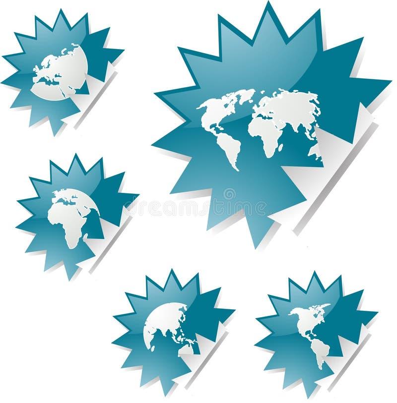 översiktsetikettsvärld stock illustrationer