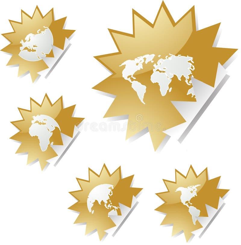 översiktsetikettsvärld royaltyfri illustrationer