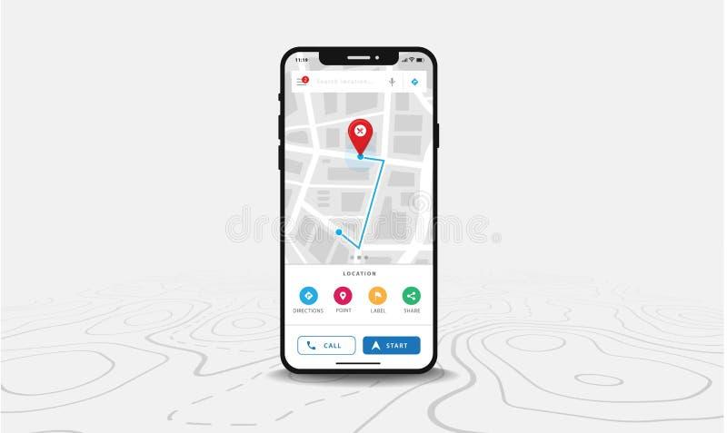 ÖversiktsGPS navigering, Smartphone översiktsapplikation och röd knappnålsspets på skärmen, navigering för Appsökandeöversikt, på royaltyfri illustrationer
