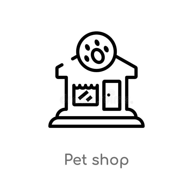 översiktshusdjuret shoppar vektorsymbolen isolerad svart enkel linje beståndsdelillustration från djurbegrepp redigerbart vektors royaltyfri illustrationer