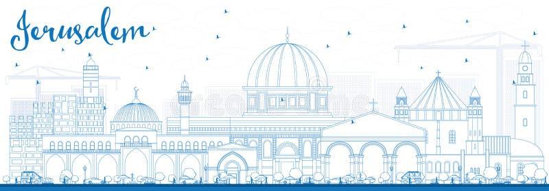 ÖversiktsJerusalem horisont med blåa byggnader royaltyfri illustrationer