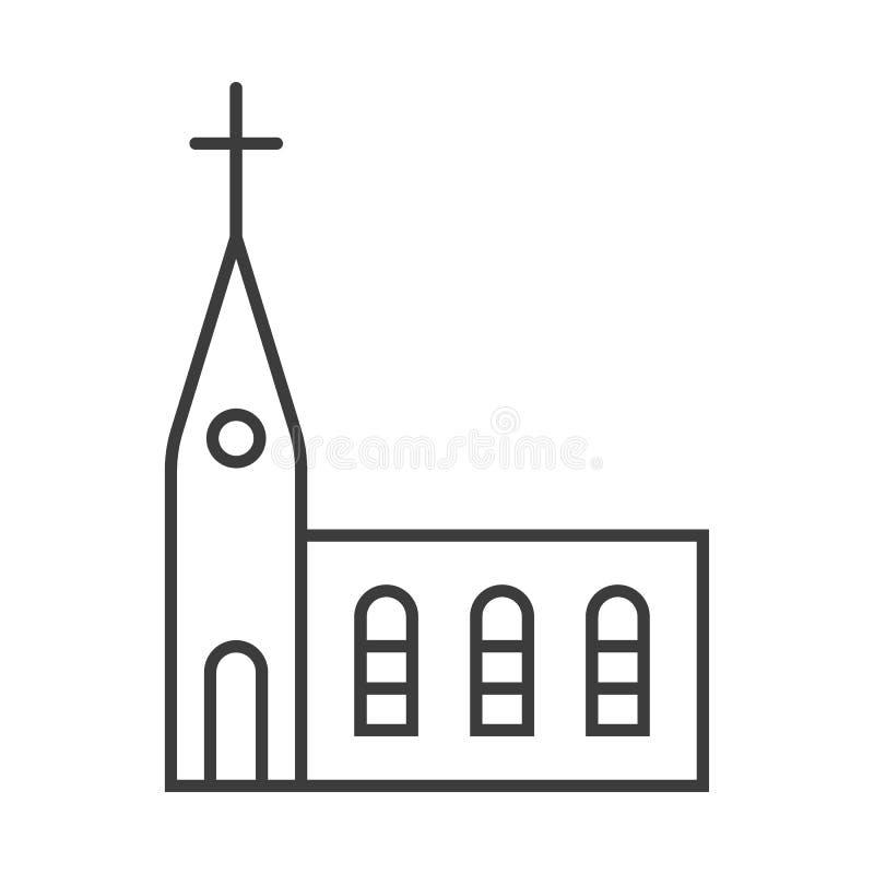 Översiktskyrkasymbol som isoleras på grå bakgrund Linje religionsymbol för din webbplatsdesign, logo, UI Redigerbar slagl?ngd vektor illustrationer