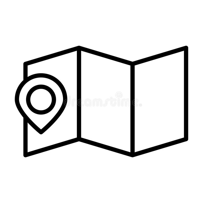 Översiktsläge med Pin Line Icon Enkel minsta Pictogram 96x96 för vektor royaltyfri illustrationer