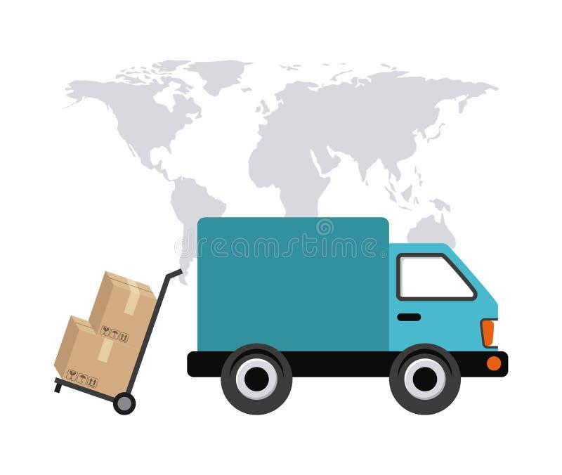 Översiktslastbil- och packesymbol leverans och sändningsdesign vektor stock illustrationer