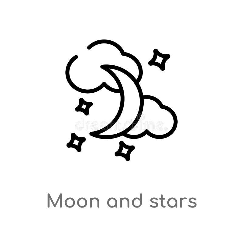 översiktsmåne och stjärnavektorsymbol isolerad svart enkel linje beståndsdelillustration från formbegrepp Redigerbar vektorslaglä royaltyfri illustrationer