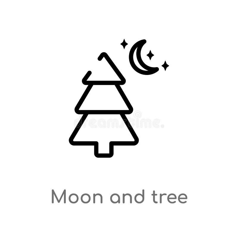 översiktsmåne och trädvektorsymbol isolerad svart enkel linje best?ndsdelillustration fr?n loppbegrepp Redigerbar vektorslagl?ngd royaltyfri illustrationer