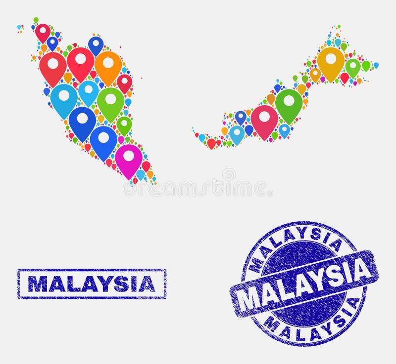 Översiktsmarkörcollage av den Malaysia översikten och skrapade stämplar vektor illustrationer