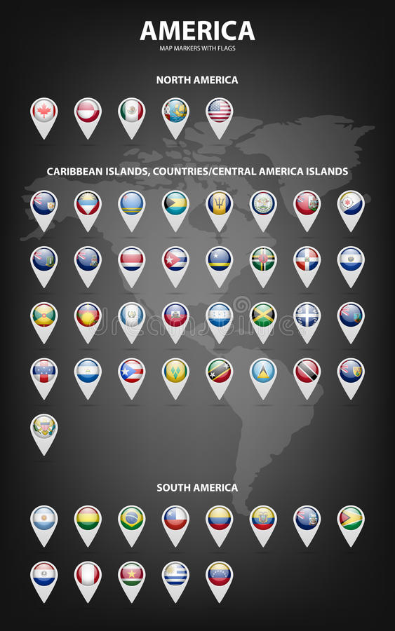 Översiktsmarkörer med flaggor - Amerika Originella färger stock illustrationer