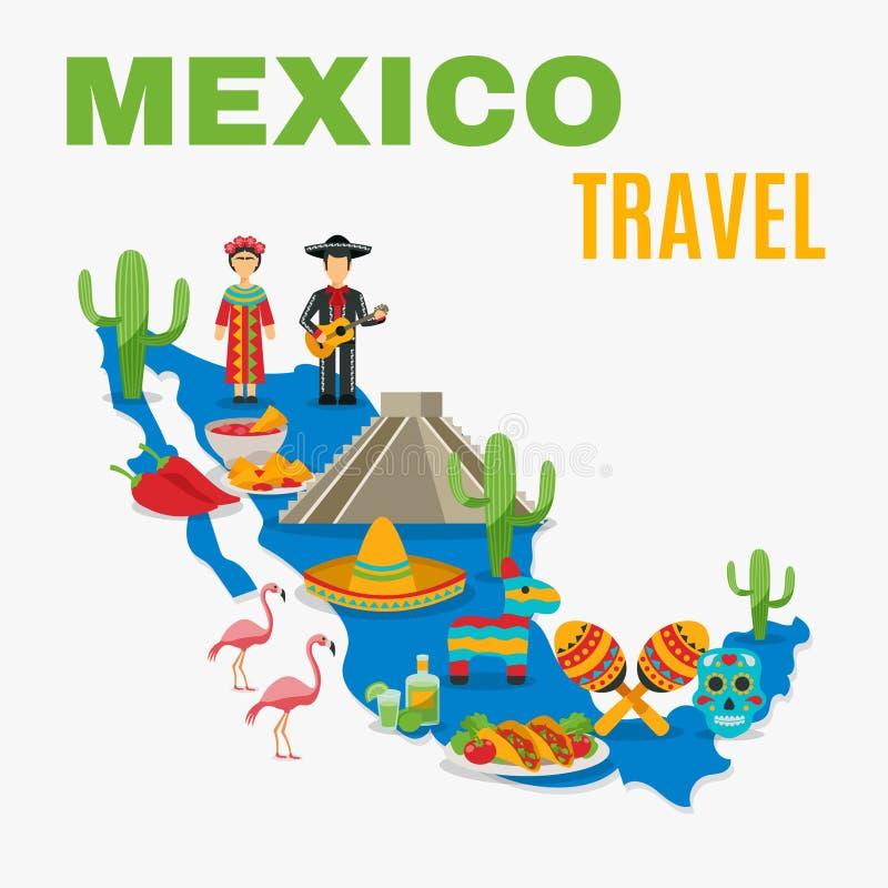 ÖversiktsMexico bakgrund stock illustrationer