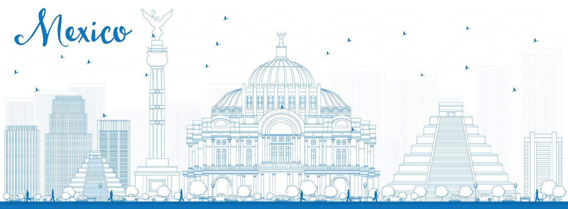 ÖversiktsMexico horisont med blåa gränsmärken stock illustrationer
