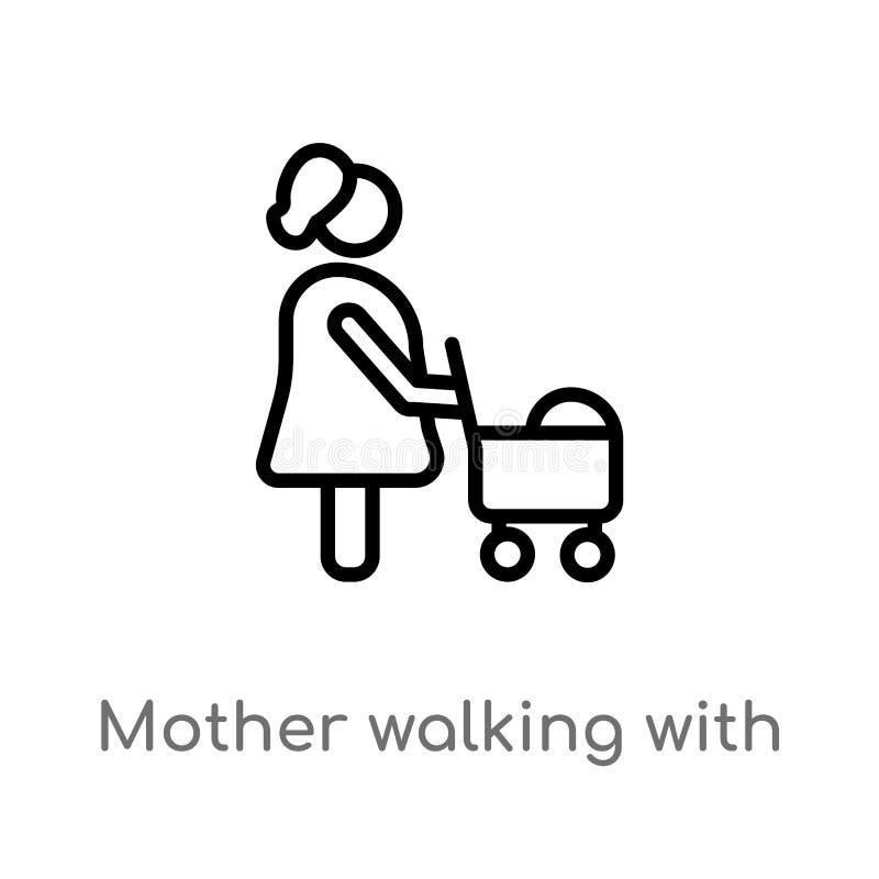 översiktsmodern som går med, behandla som ett barn sittvagnvektorsymbolen isolerad svart enkel linje beståndsdelillustration från royaltyfri illustrationer