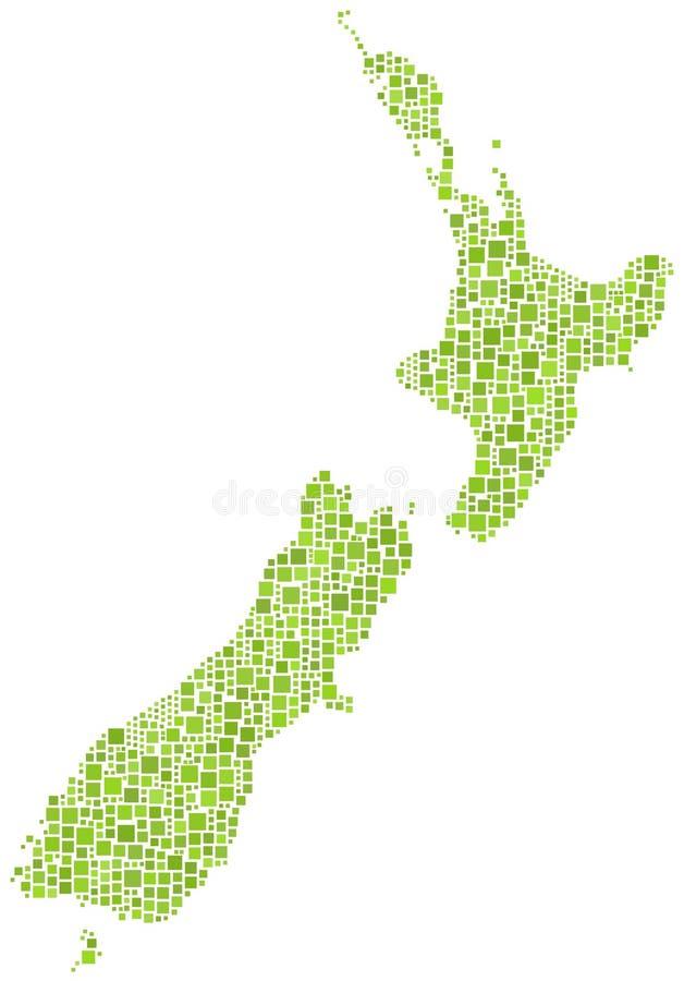 översiktsmosaik New Zealand royaltyfri illustrationer