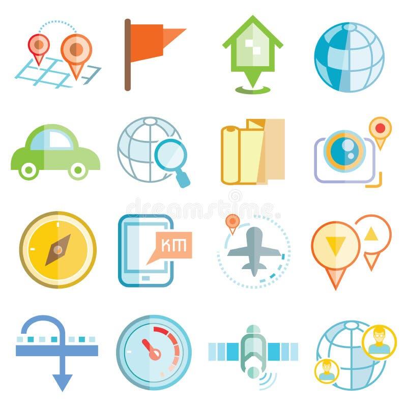 Översiktsnavigeringsymboler stock illustrationer