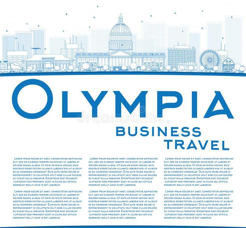 ÖversiktsOlympia (Washington) horisont med blå byggnad vektor illustrationer