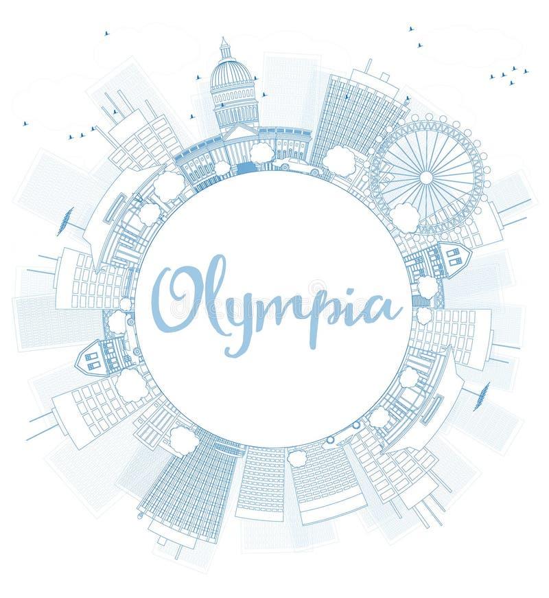 ÖversiktsOlympia (Washington) horisont med blåa byggnader stock illustrationer