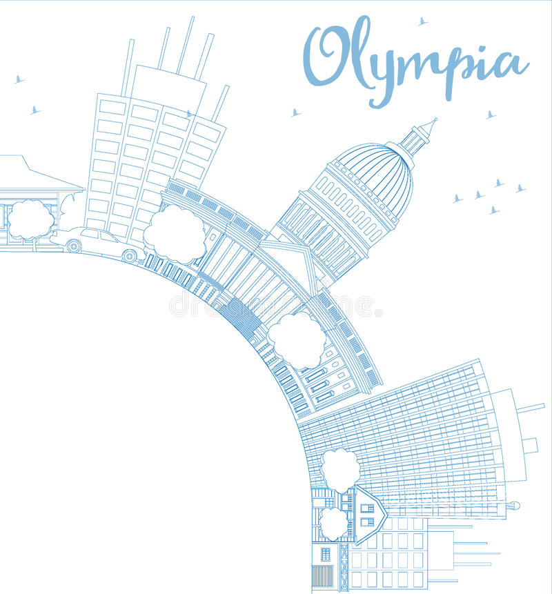ÖversiktsOlympia (Washington) horisont med blåa byggnader royaltyfri illustrationer