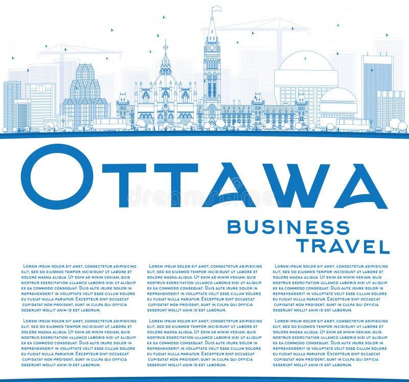 ÖversiktsOttawa horisont med blått byggnader och kopieringsutrymme royaltyfri illustrationer