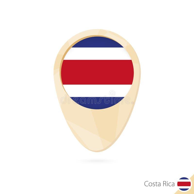 Översiktspekare med flaggan av Costa Rica Orange abstrakt översiktssymbol royaltyfri illustrationer