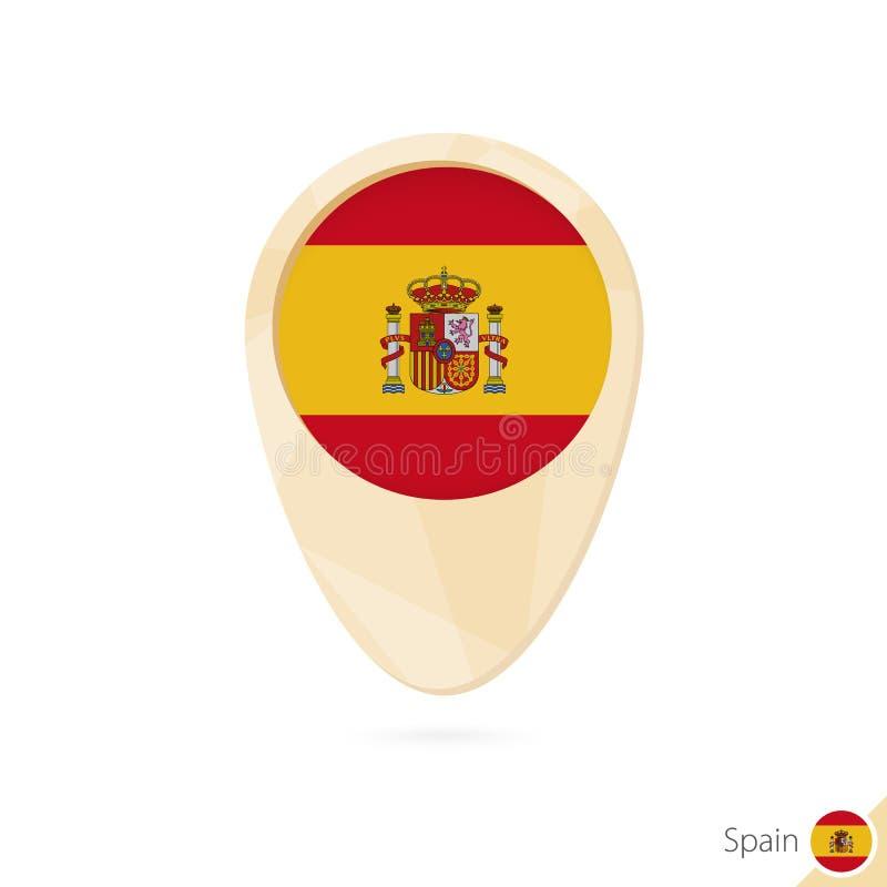 Översiktspekare med flaggan av Spanien Orange abstrakt översiktssymbol stock illustrationer