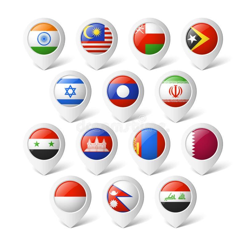 Översiktspekare med flaggor. Asien. royaltyfri illustrationer
