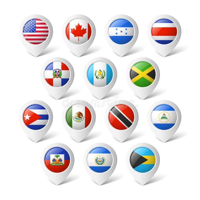 Översiktspekare med flaggor. Nordamerika. stock illustrationer