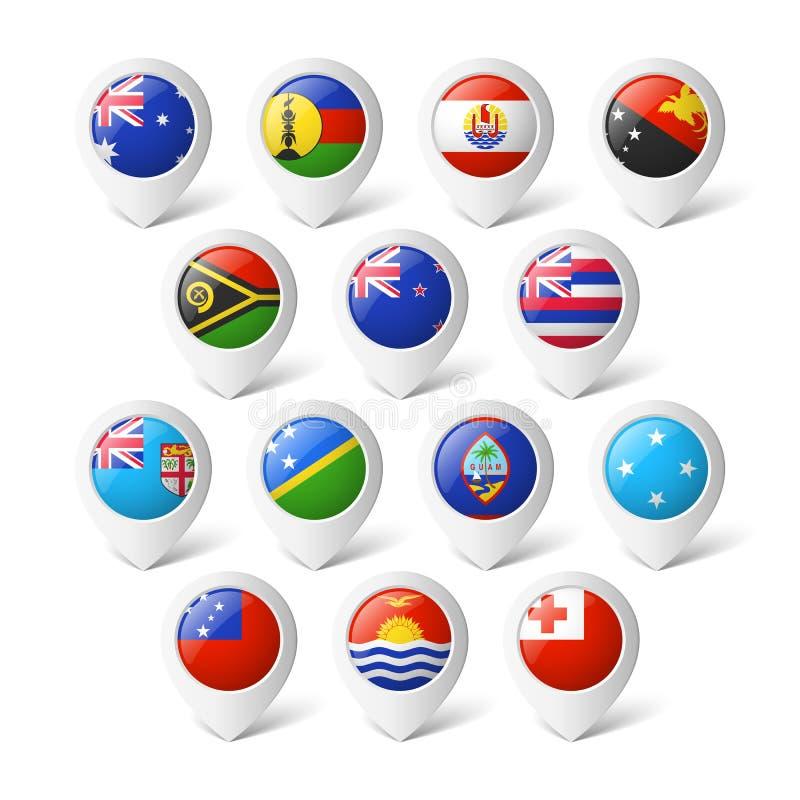 Översiktspekare med flaggor. Oceanien. royaltyfri illustrationer