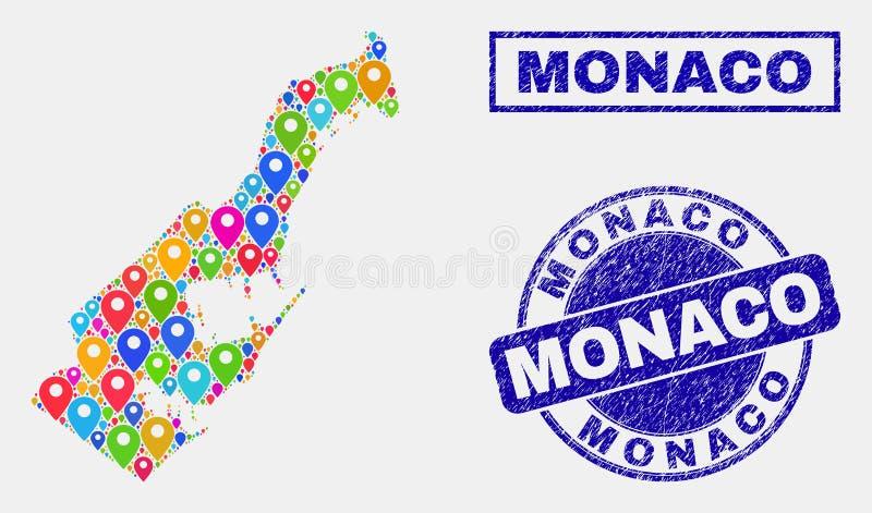 Översiktspekarecollage av Monaco översikts- och nödlägestämplar vektor illustrationer