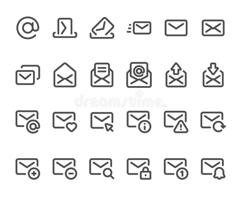Översiktspostsymbol Brevlådakuvert, emailinboxmeddelanden och linje uppsättning för postsymbolsvektor vektor illustrationer