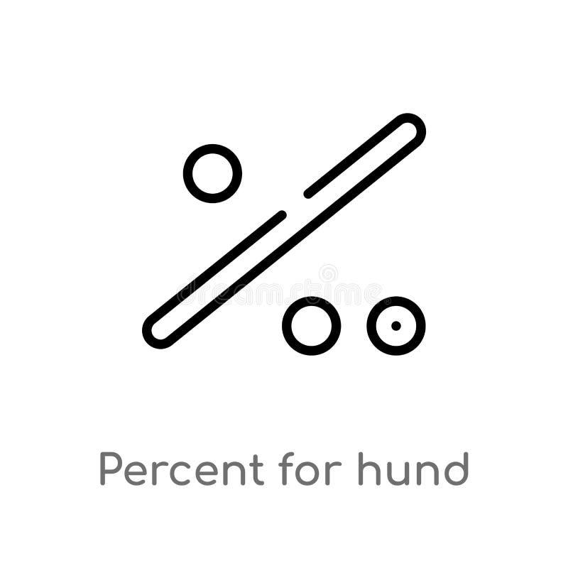 översiktsprocent för hundvektorsymbol isolerad svart enkel linje best?ndsdelillustration fr?n teckenbegrepp Redigerbar vektorslag stock illustrationer