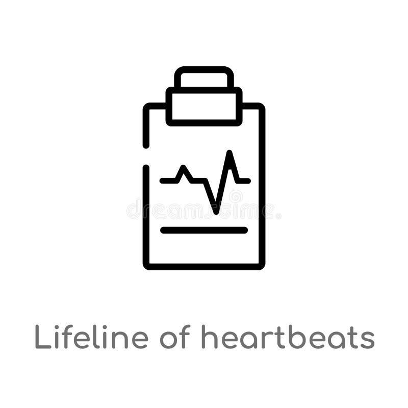 översiktsräddningslina av hjärtslag på ett papper på en skrivplattavektorsymbol isolerad svart enkel linje beståndsdelillustratio royaltyfri illustrationer