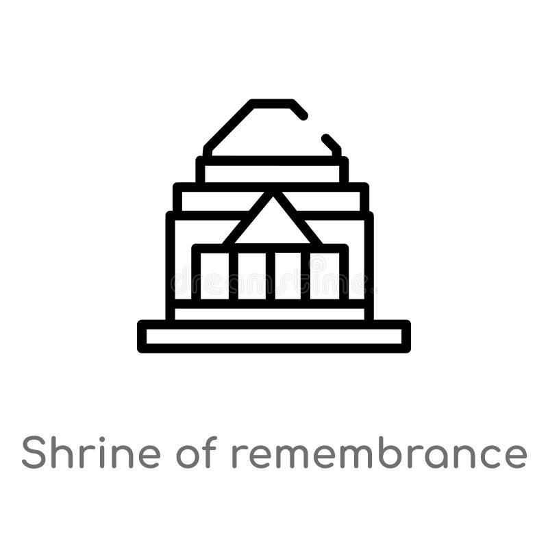 översiktsrelikskrin av minnevektorsymbolen isolerad svart enkel linje beståndsdelillustration från monumentbegrepp Redigerbar vek royaltyfri illustrationer