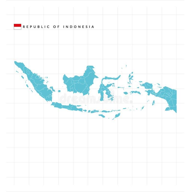 Översiktsrepublik av Indonesien royaltyfri illustrationer