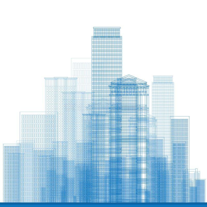 Översiktsstadsskyskrapor i blåttfärg vektor illustrationer