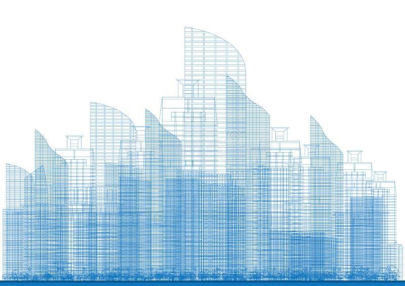 Översiktsstadsskyskrapor i blåttfärg stock illustrationer