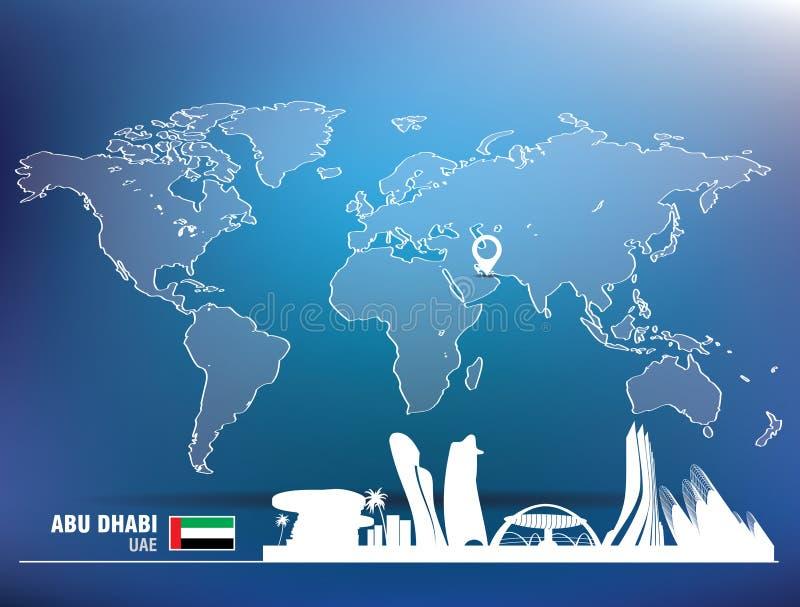 Översiktsstift med Abu Dhabi horisont stock illustrationer