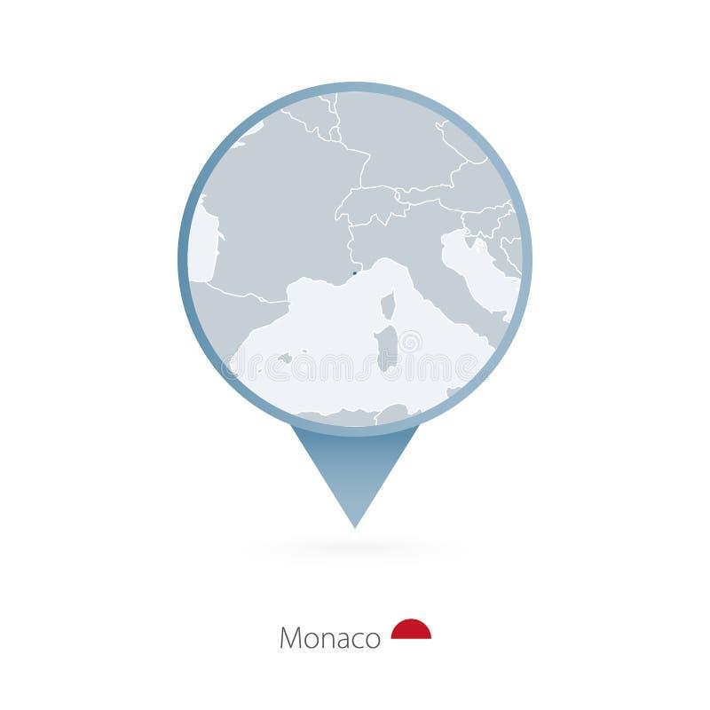 Översiktsstift med den detaljerade översikten av Monaco och grannländer vektor illustrationer