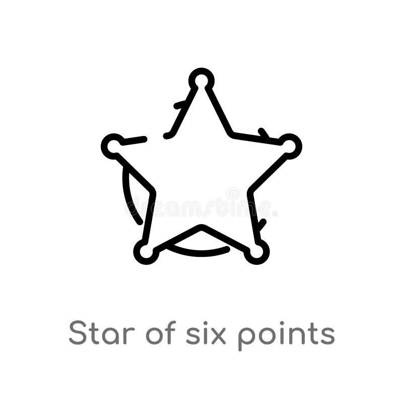 översiktsstjärna av sex punkter vektorsymbol isolerad svart enkel linje beståndsdelillustration från geometribegrepp Redigerbar v vektor illustrationer