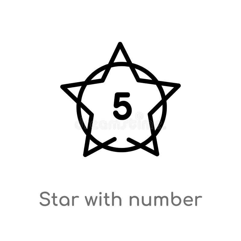 översiktsstjärna med vektorsymbolen för nummer fem isolerad svart enkel linje best?ndsdelillustration fr?n formbegrepp Redigerbar vektor illustrationer