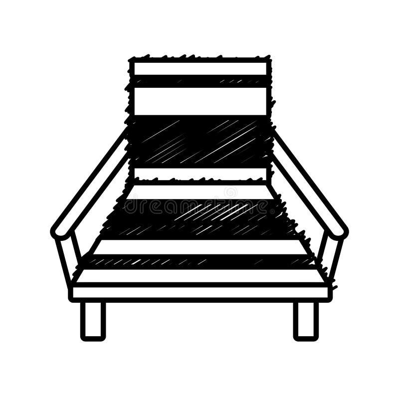 Översiktsstolstranden kopplar av trä stock illustrationer