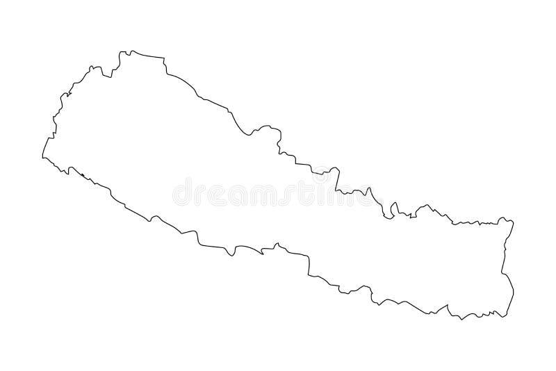 Översiktssvartöversikt Nepal vektor illustrationer