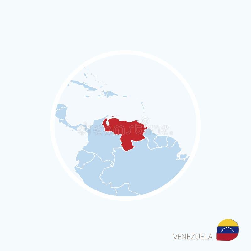 Översiktssymbol av Venezuela Blå översikt av Sydamerika med markerade Venezuela i röd färg stock illustrationer