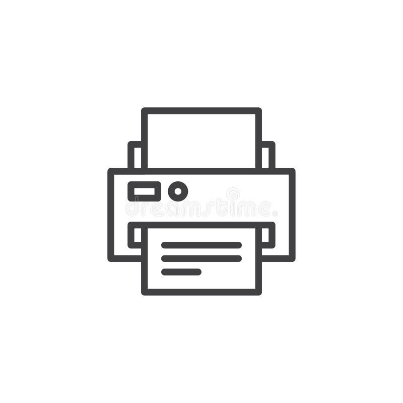 Översiktssymbol för skrivare och för pappers- dokument royaltyfri illustrationer