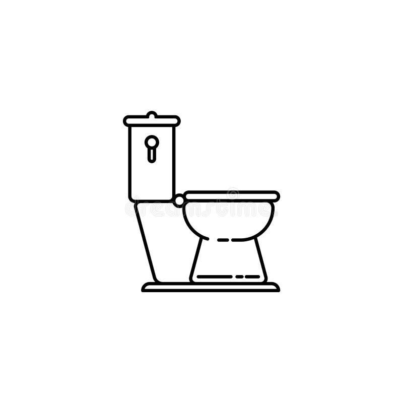 Översiktssymbol för slät toalett royaltyfri illustrationer